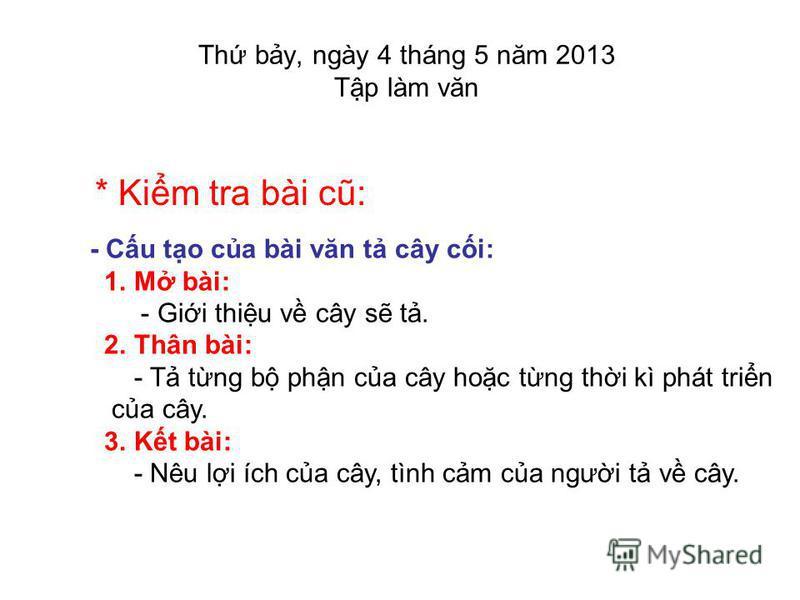 Bài 53: ÔN TP V T CÂY CI T KHI 5 THC HIN NĂM HC: 2012 - 2013