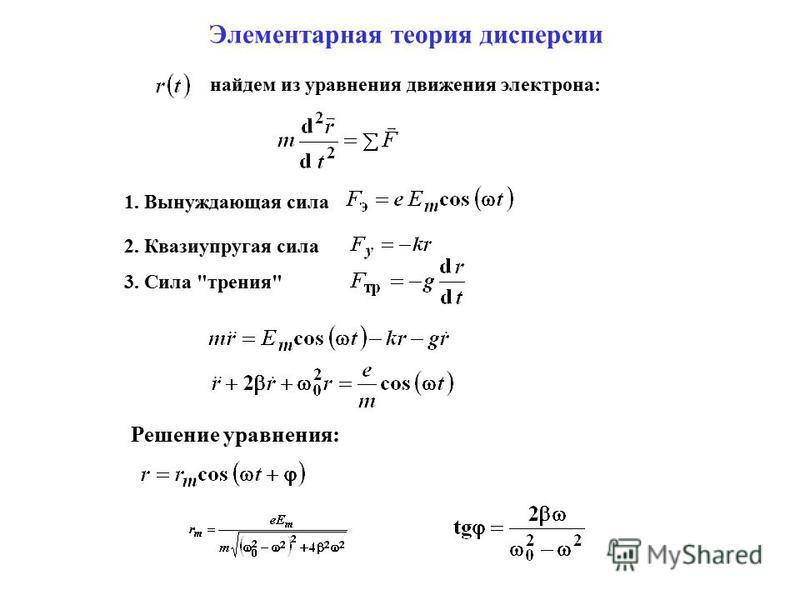 Элементарная теория дисперсии найдем из уравнения движения электрона: 1. Вынуждающая сила 2. Квазиупругая сила 3. Сила трения Решение уравнения: