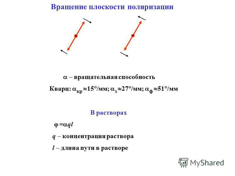 Вращение плоскости поляризации В растворах = ql q концентрация раствора l длина пути в растворе вращательная способность Кварц: кр 15 /мм; з 27 /мм; ф 51 /мм