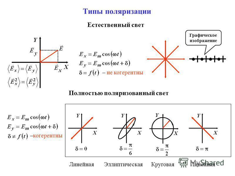 Типы поляризации X Y Естественный свет Полностью поляризованный свет – не когерентны –когерентны X Y X Y X Y X Y Графическое изображение Линейная ЭллиптическаяКруговая Линейная
