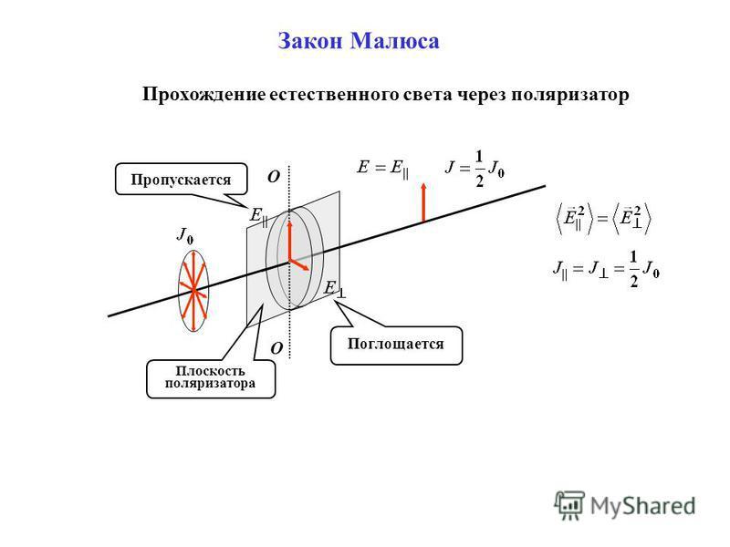 Плоскость поляризатора Закон Малюса О О Поглощается Пропускается Прохождение естественного света через поляризатор