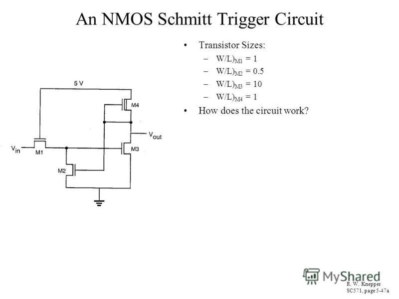 An NMOS Schmitt Trigger Circuit Transistor Sizes: –W/L) M1 = 1 –W/L) M2 = 0.5 –W/L) M3 = 10 –W/L) M4 = 1 How does the circuit work? R. W. Knepper SC571, page 5-47a