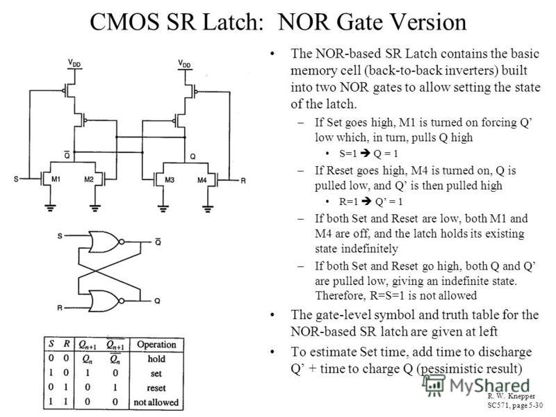 CMOS SR Latch: NOR Gate Version The NOR-based SR Latch contains the basic memory cell (back-to-back inverters) built into two NOR gates to allow setting the state of the latch. –If Set goes high, M1 is turned on forcing Q low which, in turn, pulls Q