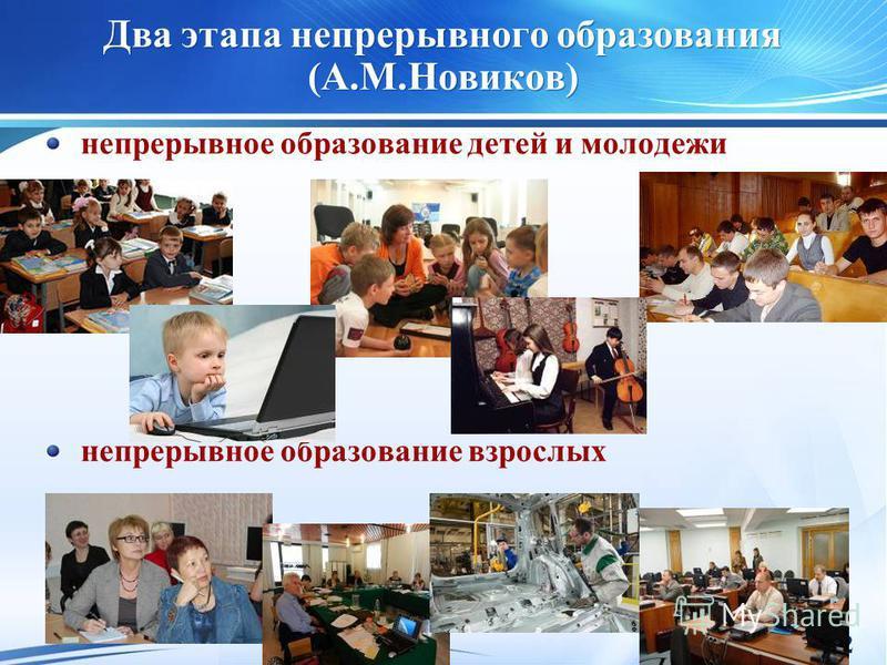 2 Два этапа непрерывного образования (А.М.Новиков) непрерывное образование детей и молодежи непрерывное образование взрослых