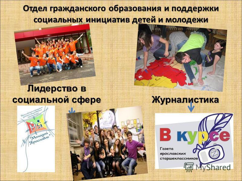 Отдел гражданского образования и поддержки социальных инициатив детей и молодежи Лидерство в социальной сфере Журналистика