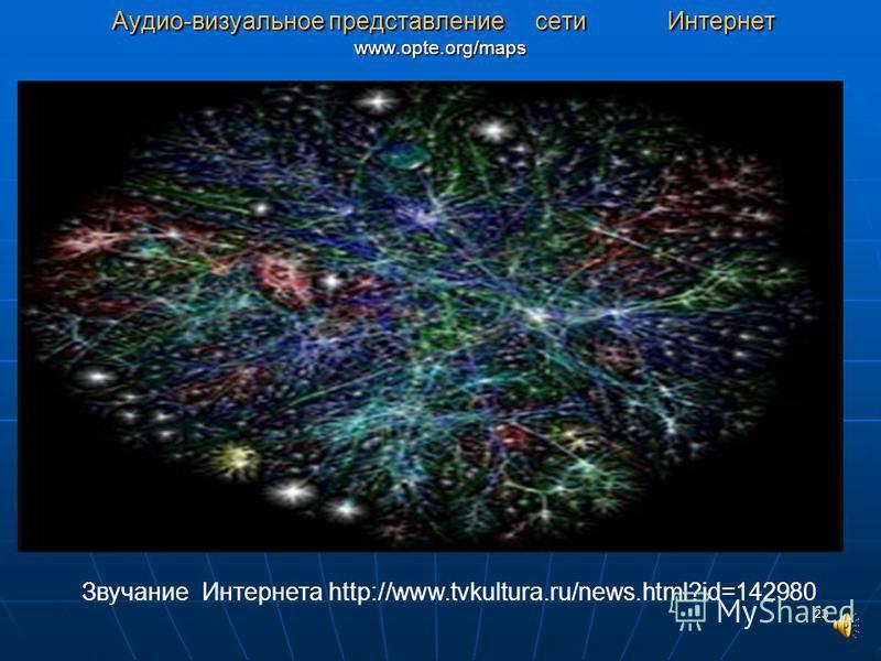 23 Аудио-визуальное представление сети Интернет www.opte.org/maps Аудио-визуальное представление сети Интернет www.opte.org/maps Звучание Интернета http://www.tvkultura.ru/news.html?id=142980