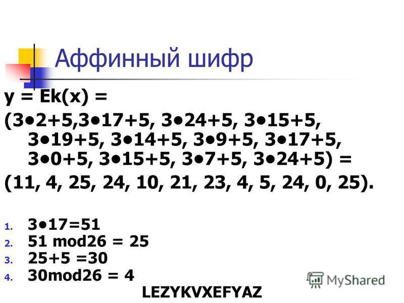 Аффинный шифр y = Ek(x) = (32+5,317+5, 324+5, 315+5, 319+5, 314+5, 39+5, 317+5, 30+5, 315+5, 37+5, 324+5) = (11, 4, 25, 24, 10, 21, 23, 4, 5, 24, 0, 25). 1. 317=51 2. 51 mod26 = 25 3. 25+5 =30 4. 30mod26 = 4 LEZYKVXEFYAZ