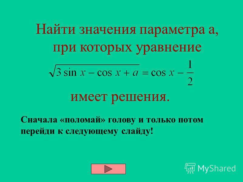 2 метод - графический Ответ: Данное уравнение равносильно системе: ; Строим параболу в осях ОХА { { x a -1 x a
