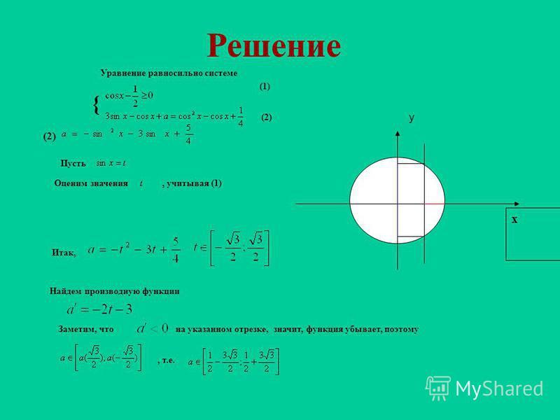 Найти значения параметра а, при которых уравнение имеет решения. Сначала «поломай» голову и только потом перейди к следующему слайду!