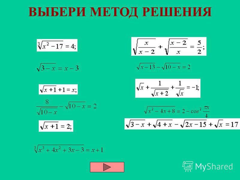 Методы решения иррациональных уравнения Стандартный Замены переменной Использования области определения корня Использование множества значений корня Монотонности функций Мажорант Графический