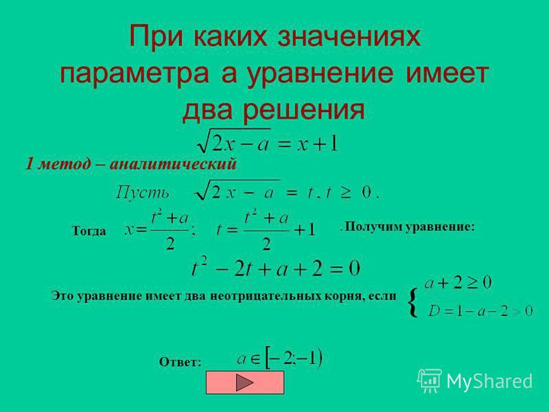 Основная трудность решения задач с параметром –логическая. Увы, правильное логическое мышление от природы не дается, -его у себя надо развивать даже людям, способным к математике. И это нелегко. Подготовьте себя морально к серьезной борьбе с собой.