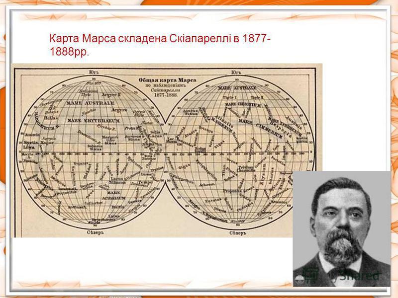 Карта Марса складена Скіапареллі в 1877- 1888рр.