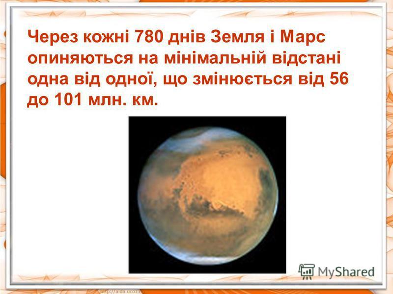 Через кожні 780 днів Земля і Марс опиняються на мінімальній відстані одна від одної, що змінюється від 56 до 101 млн. км.