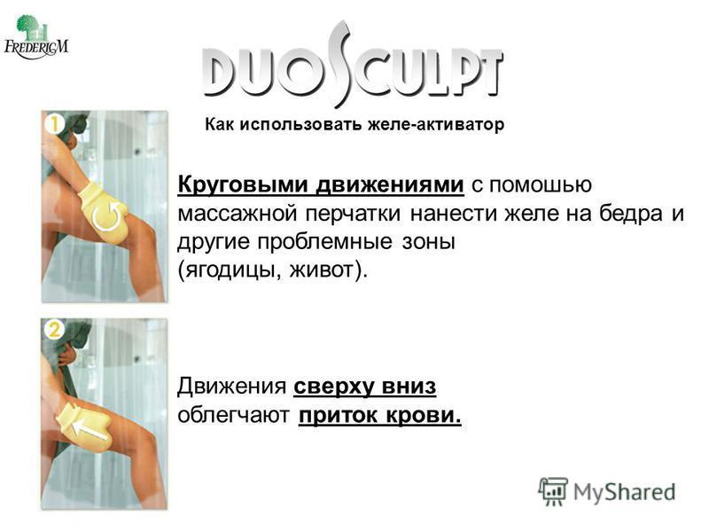 Как использовать желе-активатор Круговыми движениями с помощью массажной перчатки нанести желе на бедра и другие проблемные зоны (ягодицы, живот). Движения сверху вниз облегчают приток крови.