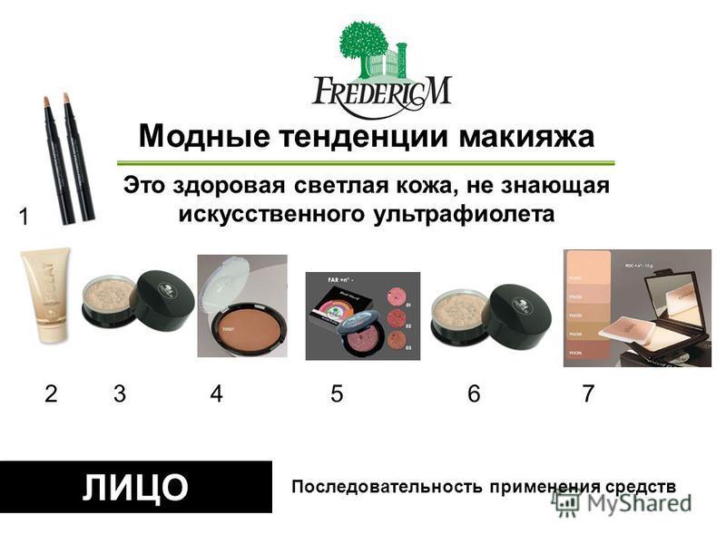 ЛИЦО Mодные тенденции макияжа Это здоровая светлая кожа, не знающая искусственного ультрафиолета Последовательность применения средств 23456 1 7