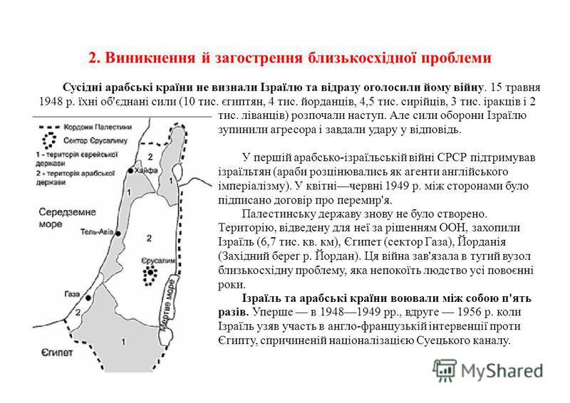 2. Виникнення й загострення близькосхідної проблеми Сусідні арабські країни не визнали Ізраїлю та відразу оголосили йому війну. 15 травня 1948 р. їхні об'єднані сили (10 тис. єгиптян, 4 тис. йорданців, 4,5 тис. сирійців, 3 тис. іракців і 2 тис. ліван
