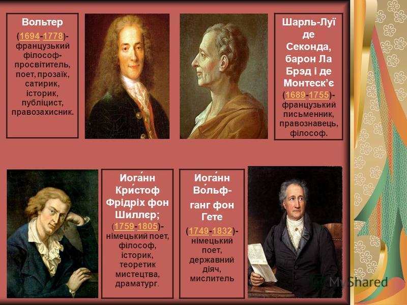 Шарль-Луї де Секонда, барон Ла Брэд і де Монтескє (1689-1755)- французький письменник, правознавець, філософ.16891755 Иога́нн Кри́стоф Фрідріх фон Ши́ллєр; ( 1759-1805)- німецький поет, філософ, історик, теоретик мистецтва, драматург. 17591805 Вольте