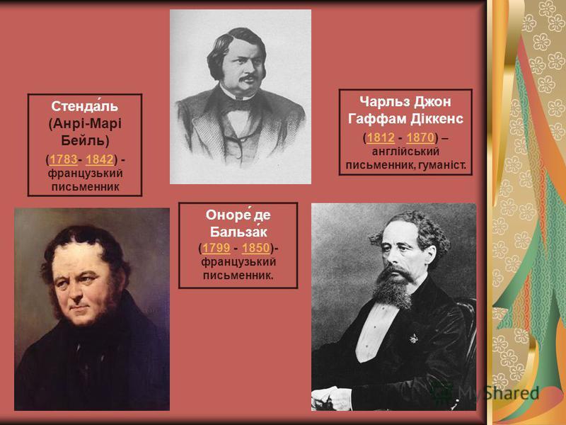 Стенда́ль (Анрі-Марі Бейль) (1783- 1842) - французький письменник17831842 Чарльз Джон Гаффам Діккенс (1812 - 1870) – англійський письменник, гуманіст.18121870 Оноре́ де Бальза́к (1799 - 1850)- французький письменник.17991850
