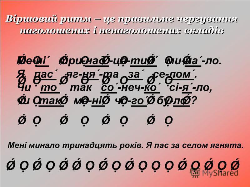 Віршовий ритм – це правильне чергування наголошених і ненаголошених складів Ǿ Ǿ Ǿ Ǿ Ǿ Ǿ Ǿ Ǿ Ǿ Ǿ Ǿ Ǿ Ǿ Ǿ Ǿ Ǿ Ǿ Ǿ Ме-ні´ три-над´-ця-тий´ ми-на´-ло. Я пас´ яг-ня´-та за´ се-лом´. Чи то´ так со´-неч-ко´ сі-я´-ло, чи так´ ме-ні´ чо-го´ бу-ло´? Мені минал