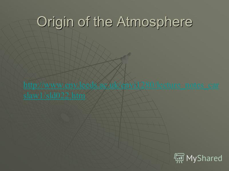 Origin of the Atmosphere http://www.env.leeds.ac.uk/envi1280/lecture_notes_car slaw1/sld022.htm