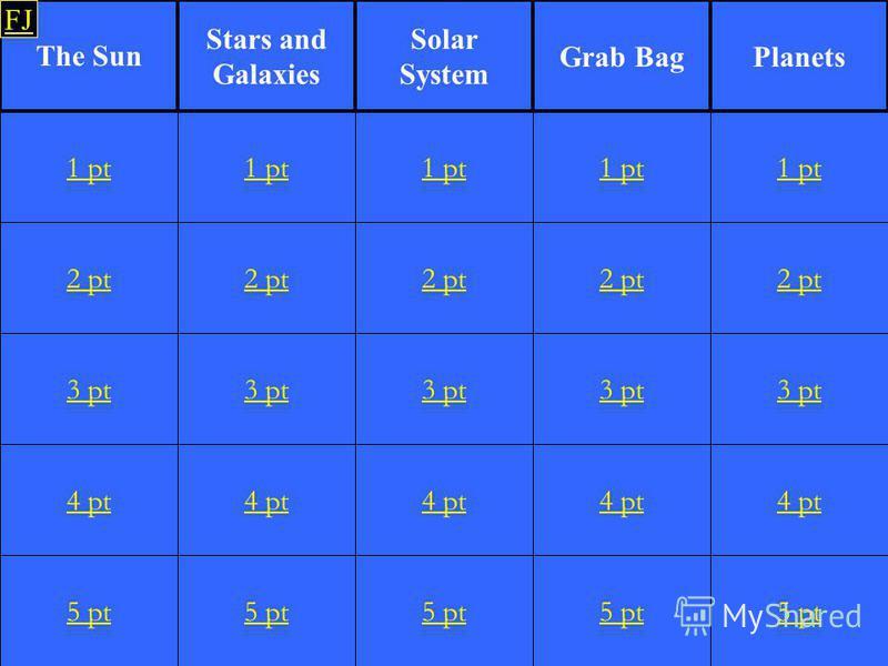2 pt 3 pt 4 pt 5 pt 1 pt 2 pt 3 pt 4 pt 5 pt 1 pt 2 pt 3 pt 4 pt 5 pt 1 pt 2 pt 3 pt 4 pt 5 pt 1 pt 2 pt 3 pt 4 pt 5 pt 1 pt The Sun Stars and Galaxies PlanetsGrab Bag Solar System FJ