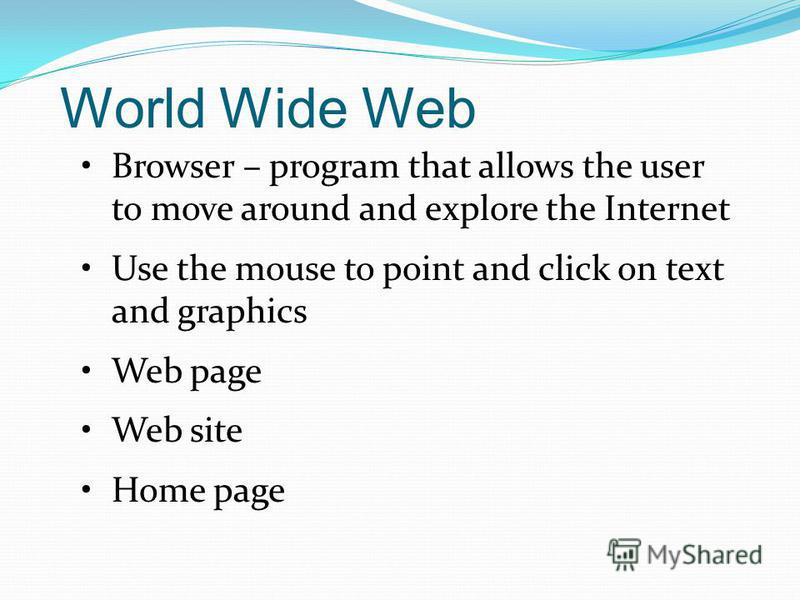 Internet – What Can You Do? WWW – World Wide Web FTP – File Transfer Protocol E-mail UseNet IRC – Internet Relay Chat Bulletin Boards