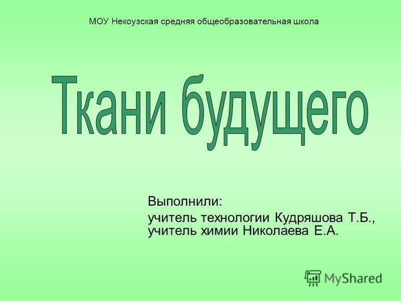 Выполнили: учитель технологии Кудряшова Т.Б., учитель химии Николаева Е.А. МОУ Некоузская средняя общеобразовательная школа