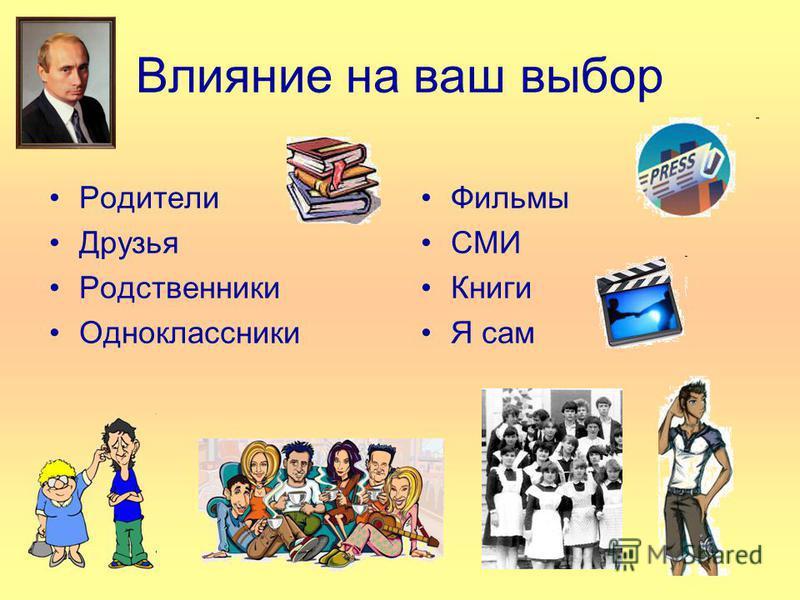 Влияние на ваш выбор Родители Друзья Родственники Одноклассники Фильмы СМИ Книги Я сам