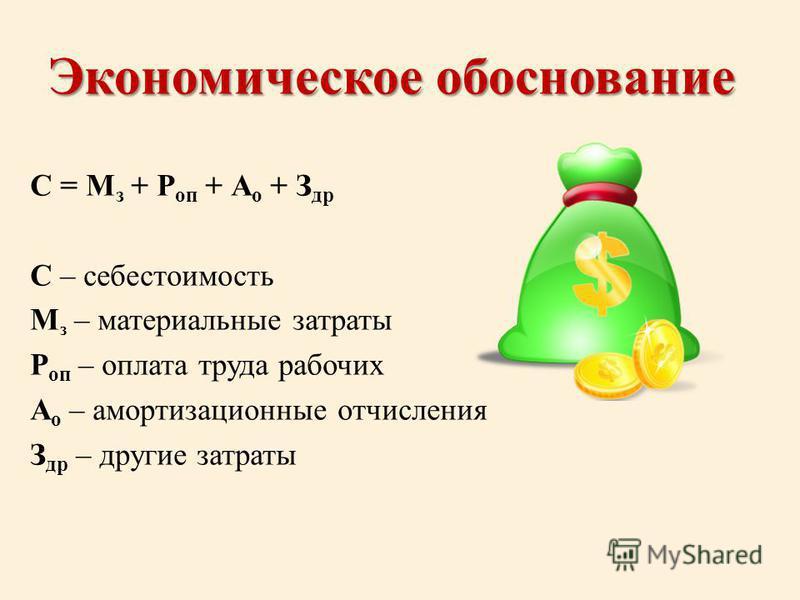 Экономическое обоснование С = М з + Р оп + А о + З др С – себестоимость М з – материальные затраты Р оп – оплата труда рабочих А о – амортизационные отчисления З др – другие затраты