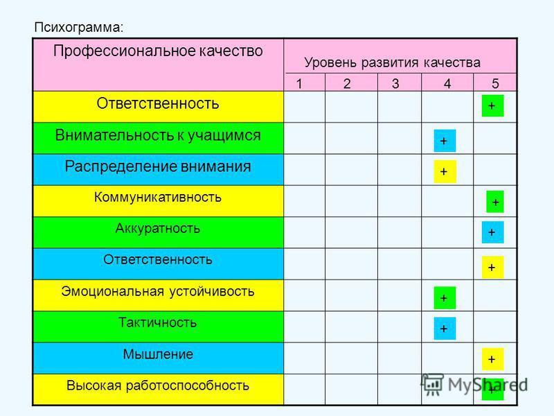 Психограмма: Профессиональное качество Ответственность Внимательность к учащимся Распределение внимания Коммуникативность Аккуратность Ответственность Эмоциональная устойчивость Тактичность Мышление Высокая работоспособность Уровень развития качества