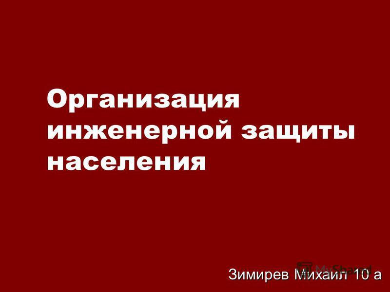 Организация инженерной защиты населения Зимирев Михаил 10 а