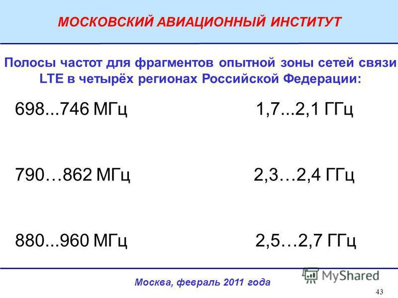 Москва, февраль 2011 года МОСКОВСКИЙ АВИАЦИОННЫЙ ИНСТИТУТ 43 Полосы частот для фрагментов опытной зоны сетей связи LTE в четырёх регионах Российской Федерации: 698...746 МГц 1,7...2,1 ГГц 790…862 МГц 2,3…2,4 ГГц 880...960 МГц 2,5…2,7 ГГц
