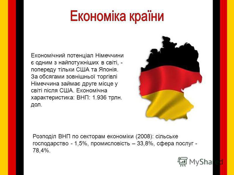 Економічний потенціал Німеччини є одним з найпотужніших в світі, - попереду тільки США та Японія. За обсягами зовнішньої торгівлі Німеччина займає друге місце у світі після США. Економічна характеристика: ВНП: 1.936 трлн. дол. Розподіл ВНП по сектора