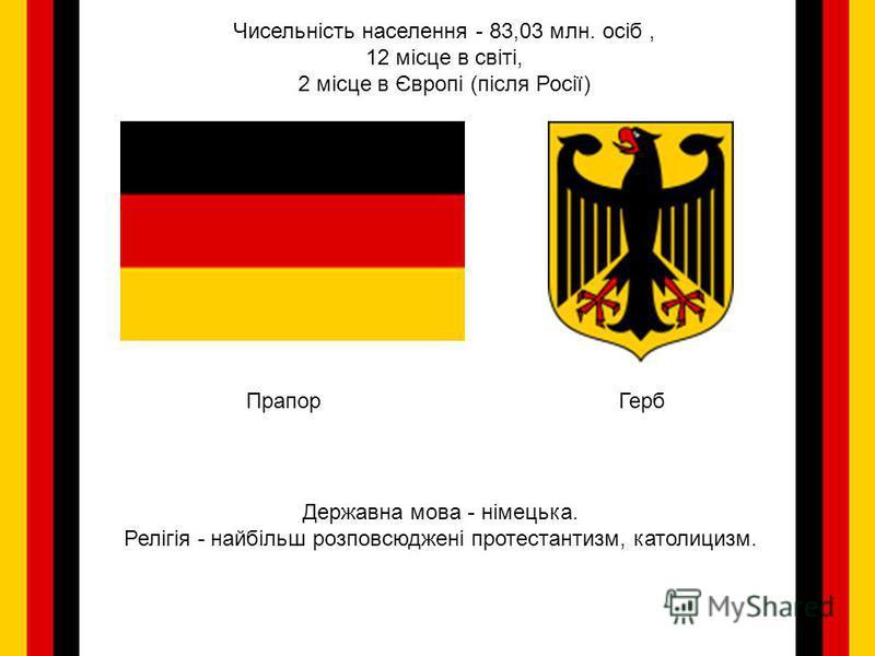 ПрапорГерб Чисельність населення - 83,03 млн. осіб, 12 місце в світі, 2 місце в Європі (після Росії) Державна мова - німецька. Релігія - найбільш розповсюджені протестантизм, католицизм.