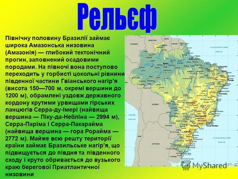 Північну половину Бразилії займає широка Амазонська низовина (Амазонія) глибокий тектонічний прогин, заповнений осадовими породами. На півночі вона поступово переходить у горбисті цокольні рівнини південної частини Гвіанського нагір'я (висота 150700