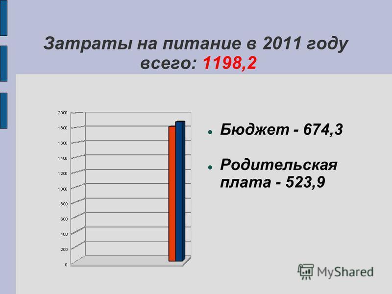 Затраты на питание в 2011 году всего: 1198,2 Бюджет - 674,3 Родительская плата - 523,9