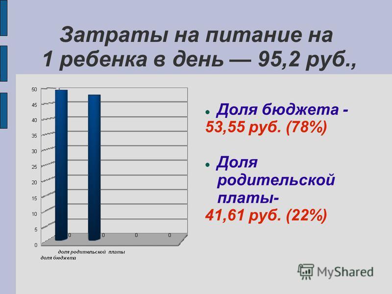Затраты на питание на 1 ребенка в день 95,2 руб., Доля бюджета - 53,55 руб. (78%) Доля родительской платы- 41,61 руб. (22%)