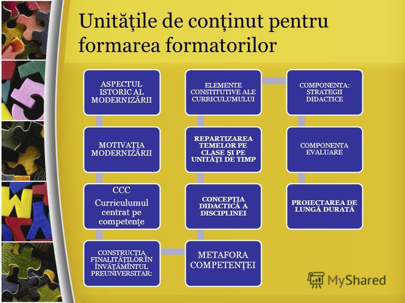 ASPECTUL ISTORIC AL MODERNIZĂRII MOTIVAŢIA MODERNIZĂRII CCC Curriculumul centrat pe competenţe CONSTRUCŢIA FINALITĂŢILOR ÎN ÎNVĂŢĂMÎNTUL PREUNIVERSITAR: METAFORA COMPETENŢEI CONCEPŢIA DIDACTICĂ A DISCIPLINEI REPARTIZAREA TEMELOR PE CLASE ŞI PE UNITĂŢ