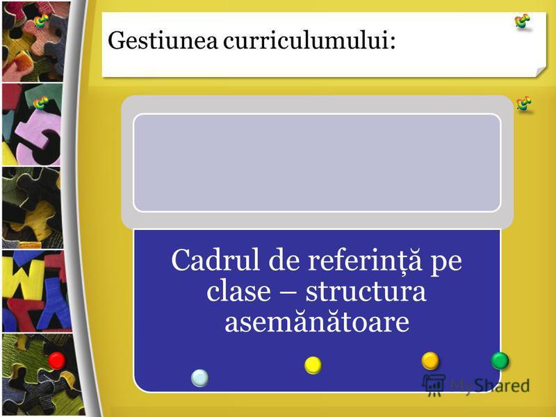Gestiunea curriculumului: Cadrul de referinţă pe clase – structura asemănătoare