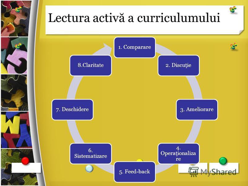Lectura activ ă a curriculumului 1. Comparare2. Discuţie3. Ameliorare 4. Operaţionaliza re 5. Feed-back 6. Sistematizare 7. Deschidere8.Claritate
