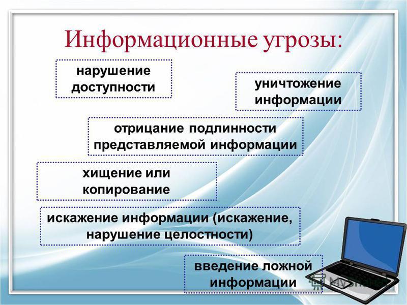 Информационные угрозы: хищение или копирование уничтожение информации искажение информации (искажение, нарушение целостности) введение ложной информации отрицание подлинности представляемой информации нарушение доступности