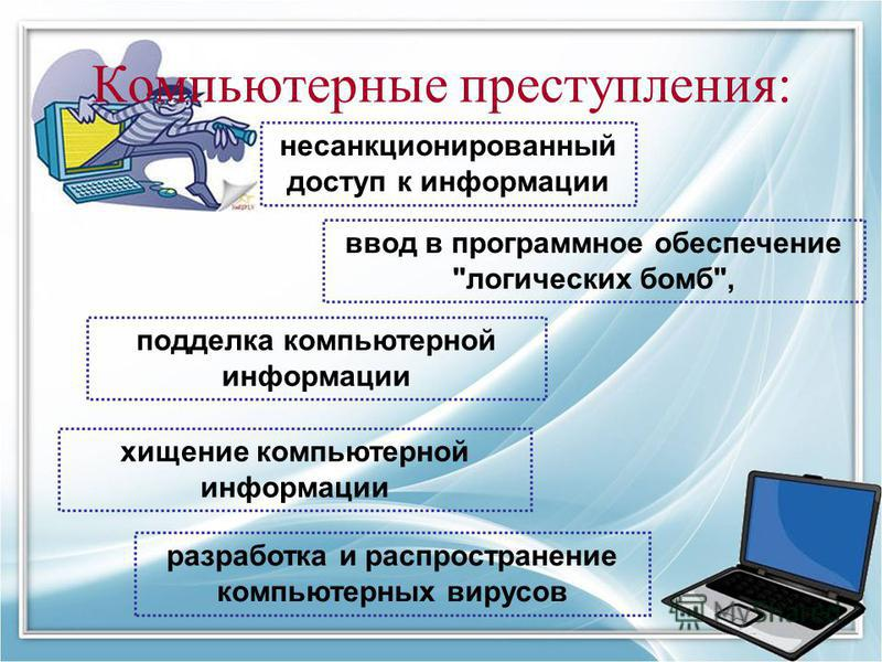 Компьютерные преступления: несанкционированный доступ к информации ввод в программное обеспечение логических бомб, разработка и распространение компьютерных вирусов хищение компьютерной информации подделка компьютерной информации