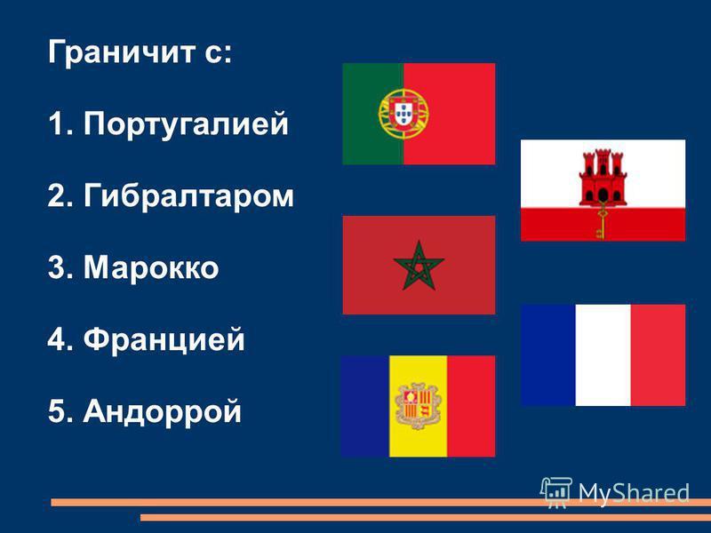 Граничит с: 1. Португалией 2. Гибралтаром 3. Марокко 4. Францией 5. Андоррой