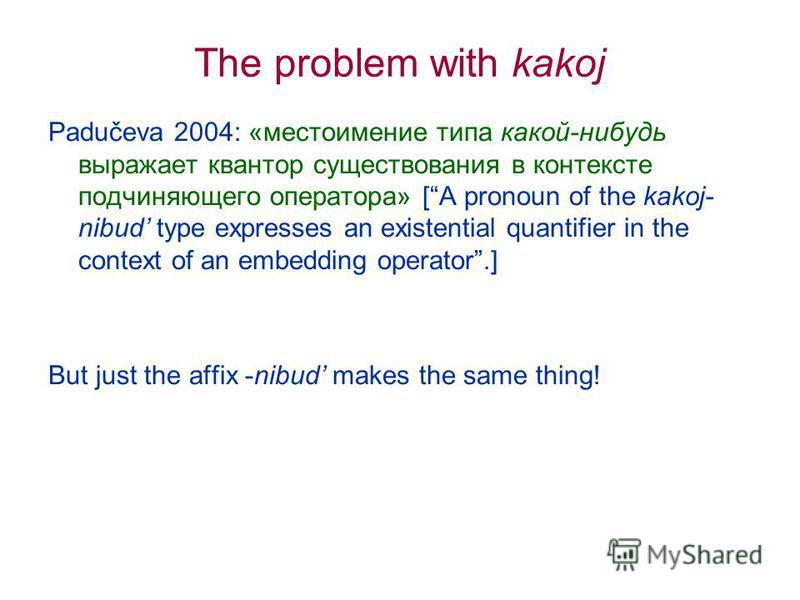 The problem with kakoj Padučeva 2004: «местоимение типа какой-нибудь выражает квантор существования в контексте подчиняющего оператора» [A pronoun of the kakoj- nibud type expresses an existential quantifier in the context of an embedding operator.]