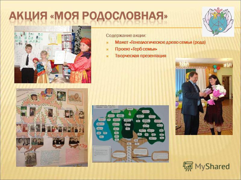 Содержание акции: Макет «Генеалогическое древо семьи (рода) Проект «Герб семьи» Творческая презентация