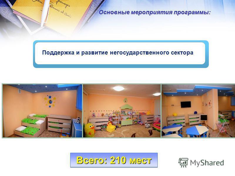 Поддержка и развитие негосударственного сектора Основные мероприятия программы: Всего: 210 мест