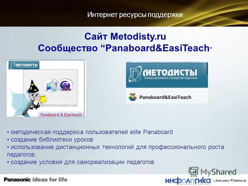 2010 Panasonic Premium Quality Interactive Whiteboards Интернет ресурсы поддержки Сайт Metodisty.ru Cообщество Panaboard&EasiTeach методическая поддержка пользователей elite Panaboard создание библиотеки уроков использование дистанционных технологий