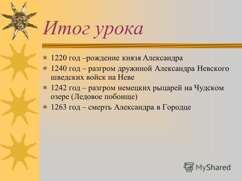 Итог урока 1220 год –рождение князя Александра 1240 год – разгром дружиной Александра Невского шведских войск на Неве 1242 год – разгром немецких рыцарей на Чудском озере (Ледовое побоище) 1263 год – смерть Александра в Городце