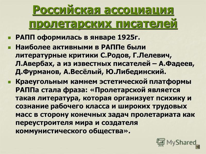 Российская ассоциация пролетарских писателей Российская ассоциация пролетарских писателей РАПП оформилась в январе 1925 г. РАПП оформилась в январе 1925 г. Наиболее активными в РАППе были литературные критики С.Родов, Г.Лелевич, Л.Авербах, а из извес