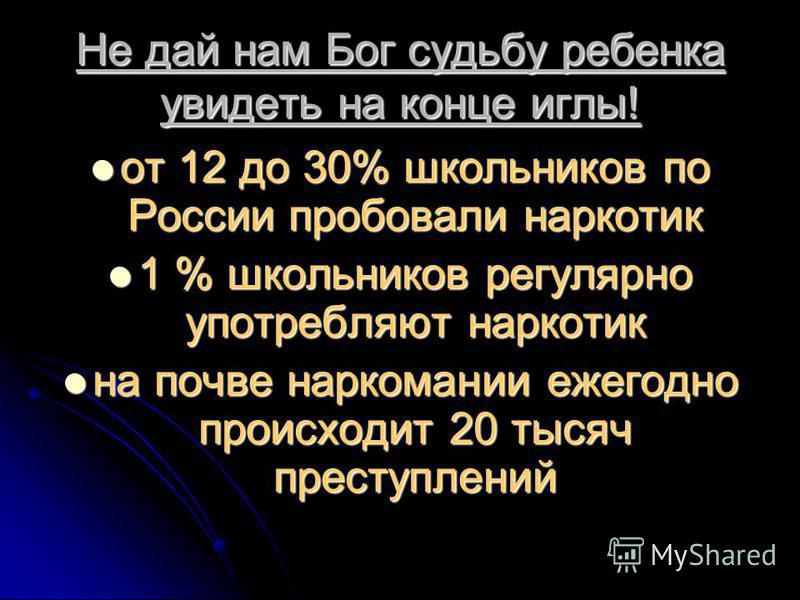 Не дай нам Бог судьбу ребенка увидеть на конце иглы! от 12 до 30% школьников по России пробовали наркотик от 12 до 30% школьников по России пробовали наркотик 1 % школьников регулярно употребляют наркотик 1 % школьников регулярно употребляют наркотик